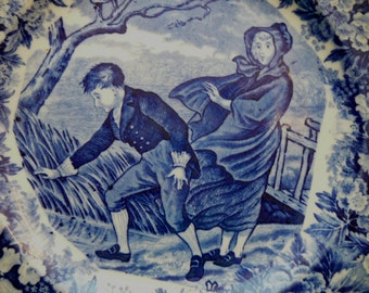 Flow Blue Wedgwood Cobalt Windy Scene March Months of Year Plate