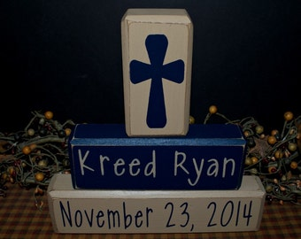 Cross custom personalized children's name wood blocks sign