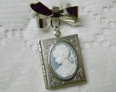 Portrait Cameo Book Locket, Jane Austen, Something Blue, Pony tail Lady, Victorian Ribbon Bow Pin Brooch Locket, Bouquet Jewelry, Silver