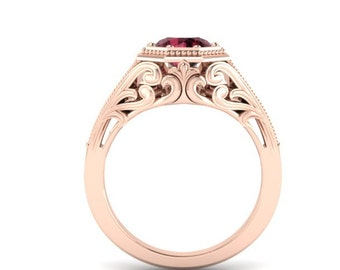 Gorgeous Rose Gold Vintage Ring with Rhodolite Garnet and Diamonds
