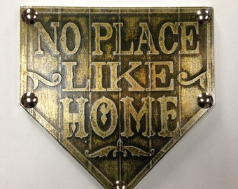 Buy one similar No Place Like Home Plate Baseball Vintage Style Custom Original Foil Metal Tape Art Faux Steel Ready To Hang Mancave