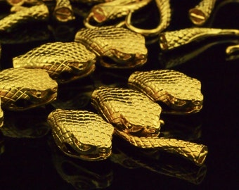 1 Gold Plated Snake Hook Clasp - Large 40mm X 15mm - 100% Guarantee