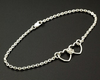 Two Hearts Sterling Silver Chain Bracelet