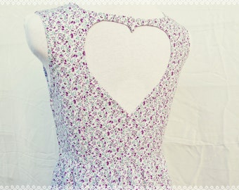 Heart Cut Out Ditsy Floral Print Dress - Floral Day Dress, Versatile OOAK Dress in Size Small