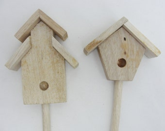 Birdhouse plant stakes, wooden plant stakes, DIY plant stakes set of 2