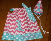 girls 1st birthday outfit, pillowcase dress with 1 applique, smash cake outfit, 1st birthday hat, photo prop, girls birthday hat