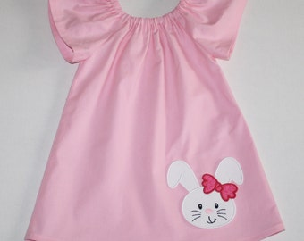 adoable bunny Easter dress - Peasant dress - girls dresses - baby Easter dress - toddler Easter dress, sister dresses, 12, 18 mo 2t, 3t, 4T