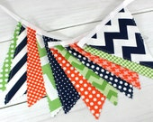Bunting Banner, Photography Prop, Fabric Flags, Nursery Decor, Birthday Decoration, Garland - Green, Navy Blue, Orange, Chevron, Dots