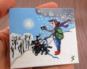 """Small Acrylic Original Painting on Tiny Canvas- White Winter Painting  """"Shooting the beautiful day""""- Christmas Gift"""
