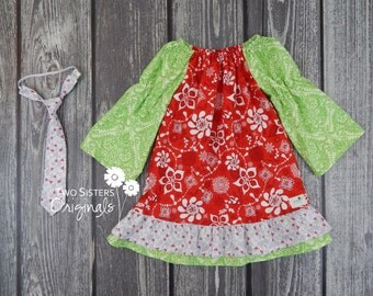 Christmas Brother and Sister Matching Outfits - Boutique Peasant Dress & Little Boy Necktie - Winter Solstice