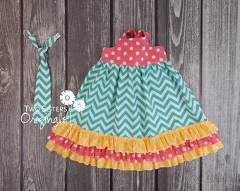 Brother and Sister Matching Outfits - Spring/Summer - Boutique Tie-Back Dress & Little Boy Necktie Set - Sunshine Picnic