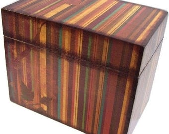 Recipe Box Decoupaged  Large and Handcrafted Fall, Autumn Stripe, Holds 4x6 Recipe Cards  MADE TO ORDER