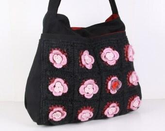 Tote Bag, Shoulder Bag ,Everyday Purse ,diaper bag,travel bag ,Crochet and canvas Bag ,Dark Gray, Zipper , XL