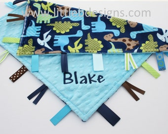 Navy Dino Minky with Aqua Minky Dot Tag Blanket  Ribbon Lovey - Personalized