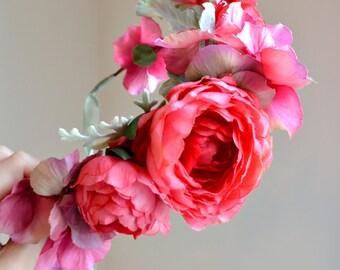 Fushia flower crown, floral head peice, woodland crown, whimsical crown, wedding hair accessory