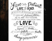 1 Cor 13 Love is Patient Hand Lettered Printable