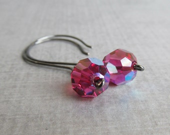 Fuchsia Dangle Earrings, Dark Pink Crystal Earrings, Fuchsia Earrings, Oxidized Silver Earrings