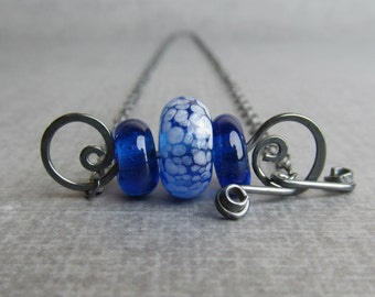 Cobalt Blue Necklace, Lampwork Necklace Blue, Blue Glass Necklace, Dark Silver Wire Pendant, Oxidized Sterling Silver Necklace, Handmade