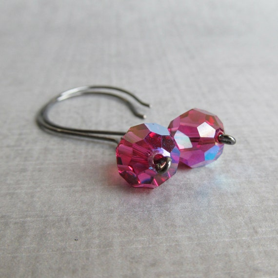 Dark Pink Dangles, Fuchsia Pink Earrings Crystal, Fuchsia Crystal Dangles, Handmade Earrings Pink, Pink Crystal Earrings, Oxidized Earrings