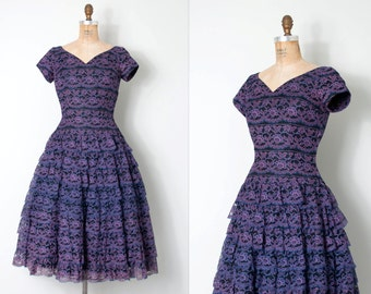 vintage 1950s dress / 50s lace dress / party dress /the Concord Grape dress