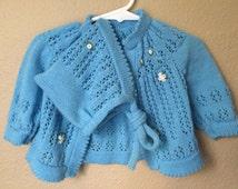 Vintage Baby Girl 80's Knit Sweater, Pant, Bonnet Set, Blue, Acrylic (3-6 mos.)