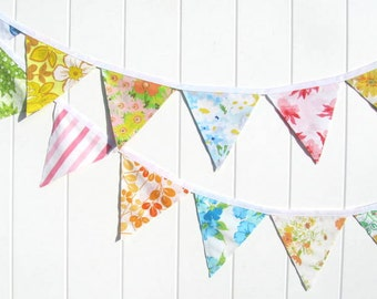 Sunny Vintage Sheet Banner Bunting Garland Floral Stripe Repurposed Fabric Party Shower Baby Birthday Prop
