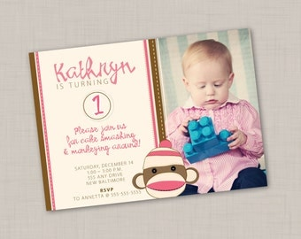 Sock Monkey Invitation (Pink & Brown) -- Print Your Own