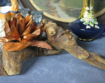 Burled Wood with Copper Flower Signed Chachki, Wood and Copper Decor, Copper Decor, Burled Wood Decor, Driftwood and Copper for End Table