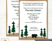 Rustic Lodge Black Bear Woodland Baby Shower Invitations, Print your Own or Printed Baby Shower Invitations