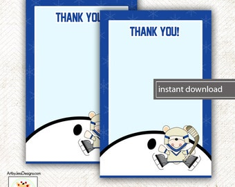 Polar Bear Hockey Sports Matching Flat Card Thank you Note, Size 4x6, INSTANT DOWNLOAD