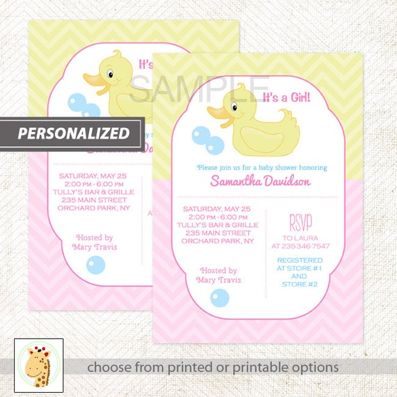 Yellow Rubber Duck Ducky Baby Shower Invitations, Baby Boy Duck, Baby Girl Duck, Printable DIY or Printed