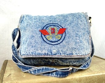 Vintage Acid Wash 80s Denim Tote Duffel Bag