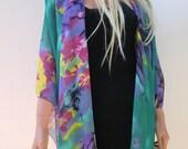 Kimono/ Kimono cardigan Emerald green and purple-  summer collection- green purple  yellow-Layering piece-