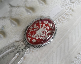 Queen Anne's Lace Pressed Flower Oxidized Bookmark Under Glass on Glowing Red Background-For The Book Lover-Gifts Under 20