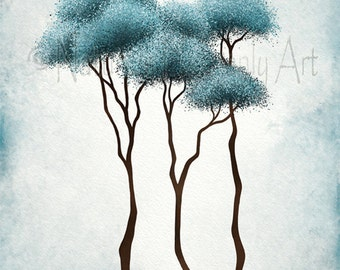 Abstract Tree Wall Art 11 x 14 Print,  Blue Décor, Fantasy Forest Modern Art Tree Print (192)