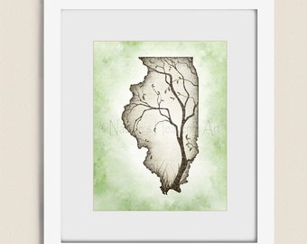 Illinois State Wall Art Tree Print, 11 x 14 Green and Brown Wall Decor for Home, Living Room Wall Art (230)