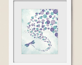 8 x 10 Purple and Aqua Girls Room Wall Decor, Dragonfly Art Print for Living Room Wall Art, Turquoise Wall Decor for House (365)