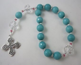 Teal Agate and Egyptian Crystal Prayer Chaplet with Sterling Silver Cross