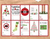 Instant Download Christmas Gift Tags - Set of 10 - Printable Holiday Labels Packaging DIY Digital Elf Christmas Tree Stocking Santa Claus