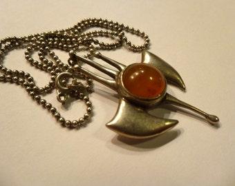 Vintage Modernist Silver & Amber Pendant. Sterling Silver Chain.
