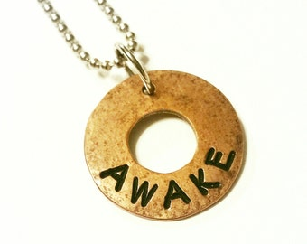 AWAKE - Copper Charm Pendant, Hammered Washer Charm, Hand Stamped, Rustic, Organic, Can be Customized