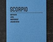scorpio. letterpress card. #217
