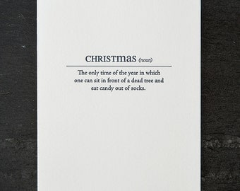 christmas definition. letterpress card. #157