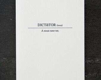 dictator definition. letterpress card. #156