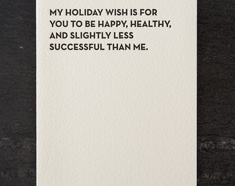 my holiday wish. letterpress card. gold envelope. #112