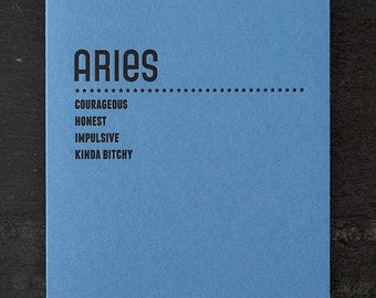 aries. letterpress card. #210