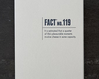 cheese. made up stats. letterpress card. #333