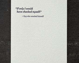 check yourself. letterpress card. #676