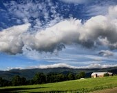 Rustic Vermont Barn, Blue Sky, Landscape Photography, Mountains, Sugarbush, Nature, 11X14 Mat, Wall Decor, Wall Hanging, Ready to Frame