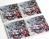 Winter Coaster Set, Holiday, Christmas Decor, Snow Scene, Red Leaves, 4X4 Tile, Set of 4